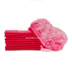 Шапочки одноразовые на двойной резинке (100 шт.), красные