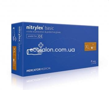 N | Перчатки ХL нитриловые синие Nitrylex Basic (100 шт.)