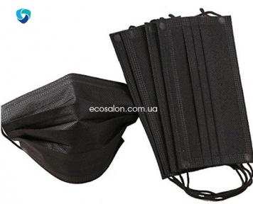 Маска защитная 3-слойная, черная (50 шт.), Medicom