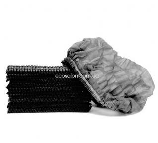 Шапочки одноразовые на двойной резинке (100 шт.), черные