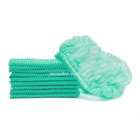 Шапочки одноразовые на двойной резинке (100 шт.), зеленые