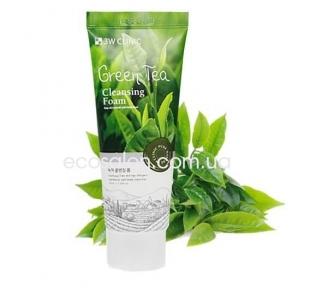 Пенка для умывания 3W Clinic зеленый чай  (100 мл) | Green Tea Cleansing Foam