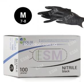 Перчатки нитриловые черные Polix PRO&MED, р. М (100 шт.)