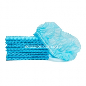 Шапочки одноразовые на двойной резинке (100 шт.), голубые