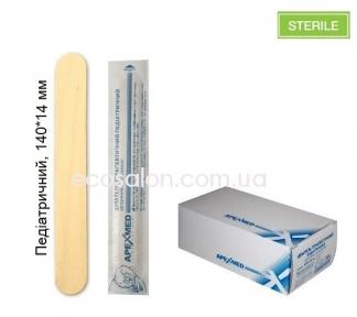 Шпатель педиатрический 140*14 мм, деревянный стерильный (100 шт./уп.)