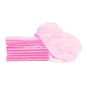 Шапочки одноразовые на двойной резинке (100 шт.), розовые