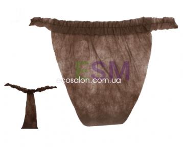 Трусы-стринги одноразовые с рюшами, спанбонд (10 шт.), шоколадный