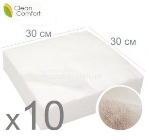 optom | Салфетки нетканые нарезные 30*30 см, Клин Комфорт спанлейс, сетка (10 уп./ящ.) 1000 шт.салфеток